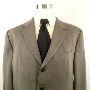 Chaps Lapel Lined Three Button Blazer Coat Sz 48R